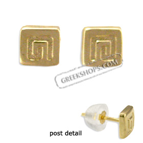 14k Gold Earrings - Greek Key Motif (5mm)