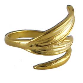 Olive Leaves Gold Plated Sterling Silver Adjustable Ring