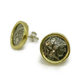 Two Tone 18K Gold Plated Sterling Silver Athena Coin Post Earrings 12mm