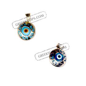 Greekshops greek products greek gold jewelry 14k gold evil 14k gold evil eye greek key circular pendant 10mm aloadofball Choice Image
