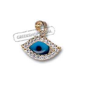 Greekshops greek products greek gold jewelry 14k gold evil 14k gold evil eye pendant eye shaped with cubic zirconia 17mm aloadofball Gallery