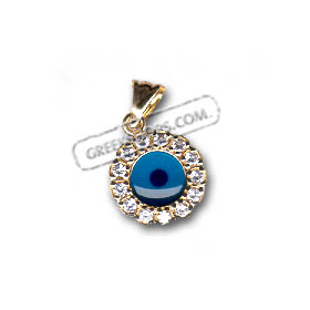 14k Gold Evil Eye Pendant - Flower-Shaped with Cubic Zirconia (10mm)