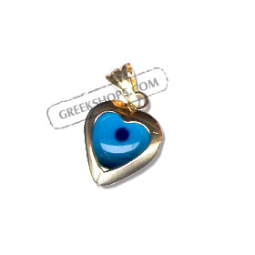 14k Gold Evil Eye Heart Pendant 13mm