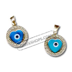 14k Gold Evil Eye Circular Pendant - Heart Center Greek Key (12mm)