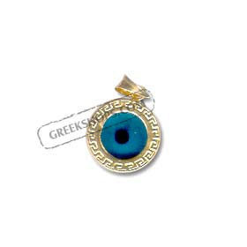 Sterling Silver Greek Key Evil Eye Pendant Rishf1ZJ