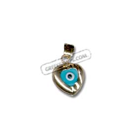 Greekshops greek products baptismal and newborn gifts 14k 14k gold evil eye pendant heart shaped with detail 10mm aloadofball Gallery