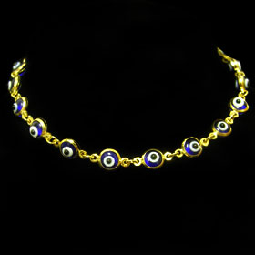 Code Jpg053 Db Gold 14k Evil Eye Bracelet Dark Blue 5mm