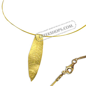The Elaia Collection - Gold Plated Sterling Silver Necklace - Olive Leaf