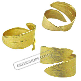 The Elaia Collection - Gold Plated Sterling Silver Ring - Olive Leaf