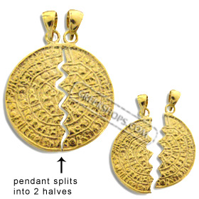 24k Gold Plated Sterling Silver Pendant - Phaistos Disk Friendship Necklace (28mm)