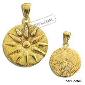 24k Gold Plated Sterling Silver Pendant - Vergina Star (18mm)