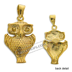 24k Gold Plated Sterling Silver Pendant - Owl (20mm)