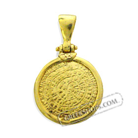 24k Gold Plated Sterling Silver Pendant - Phaistos Disc (19mm)