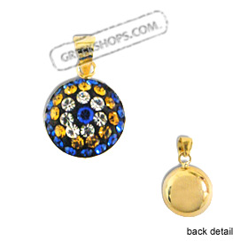 14k Gold Pendant - Circle with Blue, Yellow & White Swarovski (10mm)