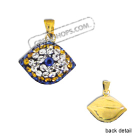 14k Gold Pendant - Eye Shape with Blue, Yellow & White Swarovski (14mm)