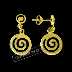 24k Gold Plated Sterling Silver Earrings - Swirl Motif (14mm)
