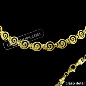 24k Gold Plated Sterling Silver Bracelet - Swirl Motif Links (8mm)