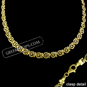 24k Gold Plated Sterling Silver Necklace - Swirl Motif Links (7mm)