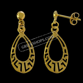 24k Gold Plated Sterling Silver Earrings - Teardrop w/ Greek Key Motif (29mm)