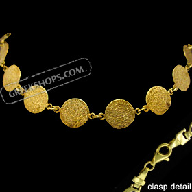 24k Gold Plated Sterling Silver Bracelet - Phaistos Discs (12mm)