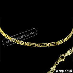 24k Gold Plated Sterling Silver Bracelet - Greek Key Motif Links (3mm)