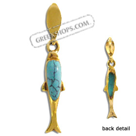 14k Gold Pendant - Dolphin w/ Turquoise Stone (17mm)