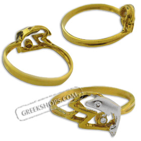 14k Gold Ring - Dolphin w/ Ocean Wave (Size 6)