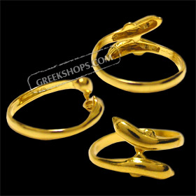 24k Gold Plated Sterling Silver Ring - Double Minoan Dolphin (Adjustable)