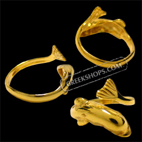 24k Gold Plated Sterling Silver Ring - Minoan Dolphin (Adjustable)