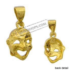 24k Gold Plated Sterling Silver Pendant - Comedy Mask (12mm)