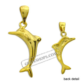 24k Gold Plated Sterling Silver Pendant - Minoan Dolphin (22mm)