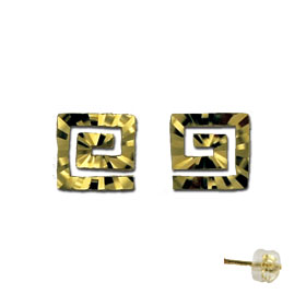 14k Gold Diamond Cut Greek Key post earrings 8mm