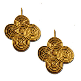 18K Gold Plated Sterling Silver Quad Minoan Swirl Motif Earrings w/ French Hooks 30mm