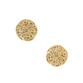 Minoan Phaistos Disk, Yellow Gold Plated Sterling Silver Small Stud Earrings