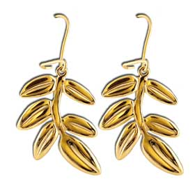 Gold Plated Olive Tree Branch Sterling Silver Earrings w/ Fish Hook backs 30mm