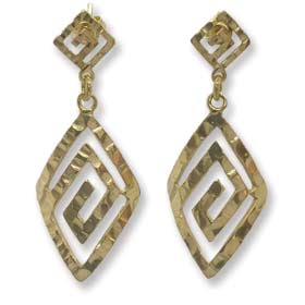 14K Gold Plated Sterling Silver Earrings - Curved Greek Key Diamond with Hammered Detail (33mm)
