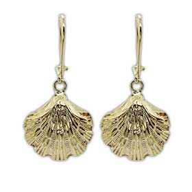 24k Gold plated Sterling Silver Scallop Shell Hoop Earrings 20mm