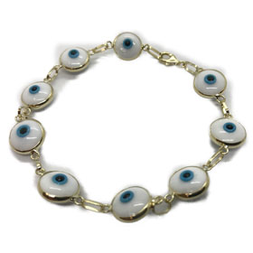 14k Gold Mati White Evil Eye Bracelet   (10mm)