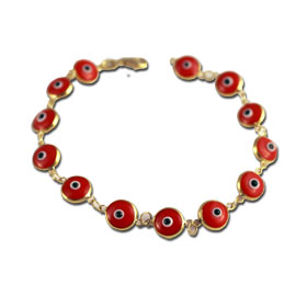 14k Gold Mati Red Evil Eye Bracelet (8mm)