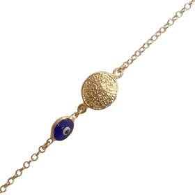 14k Gold Plated Sterling Silver Rope Chain Bracelet w/ 6mm evil eye and Phaistos Disc ornament