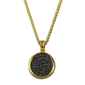 Two Tone 18K Gold Plated Sterling Silver Phaistos Disc Pendant with Chain