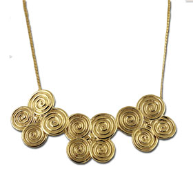 18k Gold Plated Sterling Silver Quad Minoan Swirl Motif Necklace