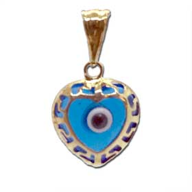 14k Gold Pendant - Evil Eye w/ Greek Key Heart-Shaped (11mm)