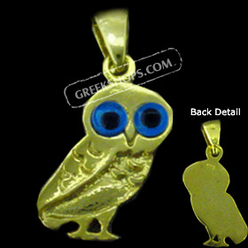 24K Gold Plated Sterling Silver Owl Pendant (19mm)