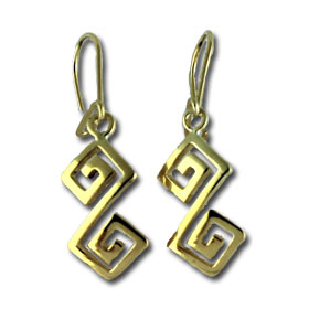 24K Gold Plated Sterling Silver Hook Earrings - Handcrafted Double Greek Key Motif Links (38mm)