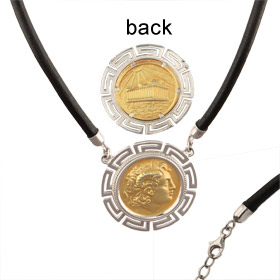Platinum & 18k Gold Plated Sterling Silver Necklace - Alexander and Parthenon (32mm)