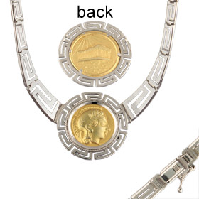Platinum & 18k Gold Plated Sterling Silver Necklace - Athena and Parthenon (32mm)