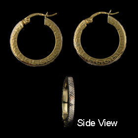 14k Gold Filled Two-Tone Greek Key Hoop Earrings (21mm)