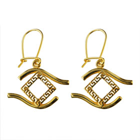 24k Gold Plated Sterling Silver Earrings - Greek Key w/ Evil Eye Border (25mm)