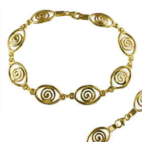 24k Gold Plated Sterling Silver Spiral Eye Shaped Bracelet